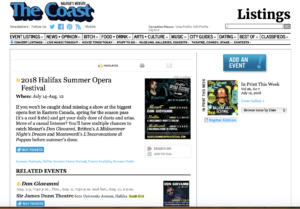 Rehearsals start tomorrow for the 14th annual Halifax Summer Opera Festival!